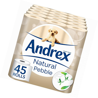 Andrex Natural Pebble Toilet Roll Tissue Paper - 45 Rolls