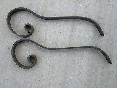 "Forged Large Curved Iron Brackets Braces Set of 2- each 27"" long,"