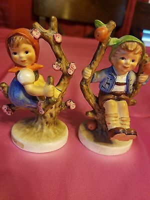 vintage Hummel apple tree girl 141 3/0 and boy 142 3/0. Both are signed