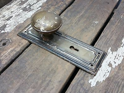 VTG Antique Old Shabby Rustic Door Knob & Metal Ridged Backplate Plate Cover -