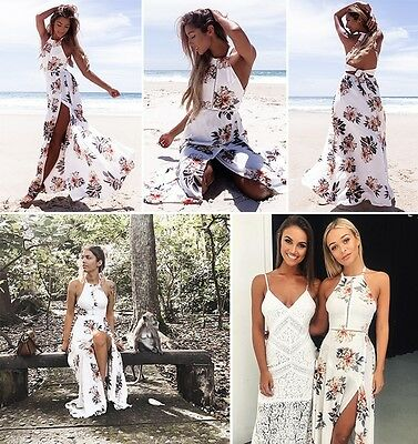 Womens Floral Print Long Sleeve Boho Dress Ladies Evening Party Long Maxi Dress