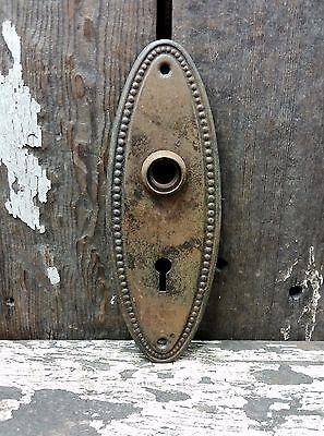 VTG Old SHABBY Rustic Beaded Oval Metal Keyhole Door Knob Backplate Cover