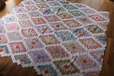 Vintage HAND PIECED FLOWER GARDEN QUILT TOP / Multi-Color  90x72