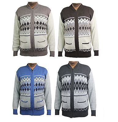 mens classic zip up vintage grandad zipped cardigan zipper knitted size s-4xl