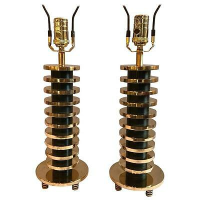 Pair of Brass and Metal Disk Shaped Mid-Century Modern Table Lamps(101-WH200)