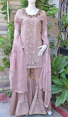 Pakistani Indian Gharara Kameez Party Wear Embroidery Wedding Bridal M, L