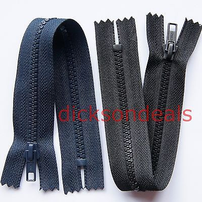 Closed Ended Plastic Teeth Chunky Zip Black or Navy Blue Choice of Lengths