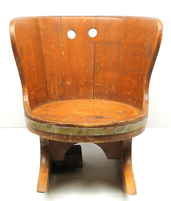 Antique Wood Children's Doll Rocking Chair w/Music Box Wooden Handmade Furniture