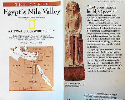 National Geographic Vintage Map Poster 1995 - Egypt'S Nile Valley North & South