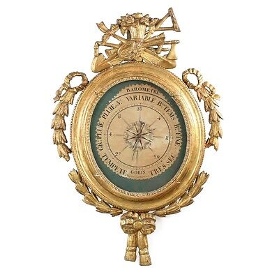 French Louis XVI Carved Giltwood Antique Barometer, late 18th century
