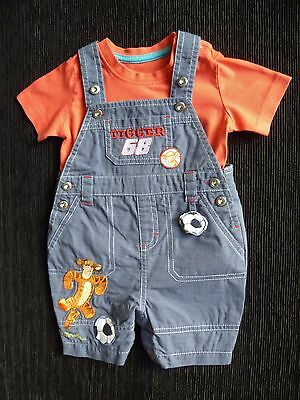 Baby clothes BOY 0-3m outfit navy adjustable Disney Tigger dungarees/ redt-shirt