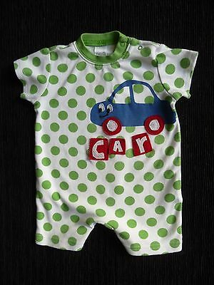 Baby clothes BOY 0-3m outfit romper NEXT white/green spot car motif SEE SHOP!
