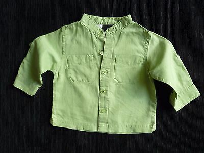 Baby clothes BOY 6-9m NEXT linen/cotton apple green long sleeve shirt round neck
