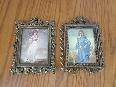 "Pair of Vintage Ornate Metal Picture Frames Made in Italy 5"" x 3 3/4"""
