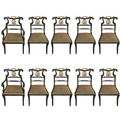 Set of Ten Neoclassical Style Ebonized and Brass Mounted Dining Chairs Jansen