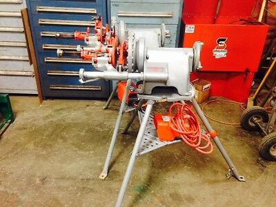 Used Ridgid 300 Power Pipe Threader on Stand w/ Die Head, Dies, Reamer & Cutter