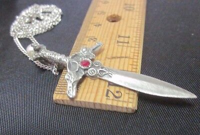 "Gallo Double Dragon Head Sword Pendant 22"" Chain Necklace Pewter 1989 Rhinestone"