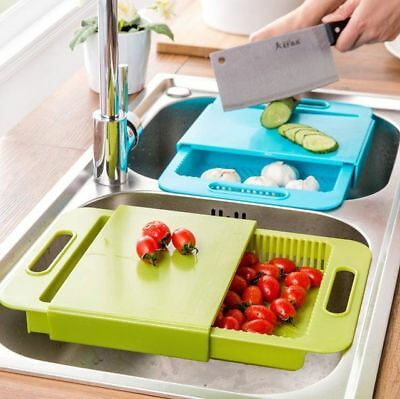 Universal Over Sink Cutting Chopping Board Colander Strainer Food Grade Plastic