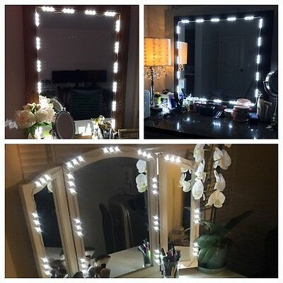 10FT Dressing Mirror Lamp Cosmetic Makeup Vanity LED Lights White+Remote+Power
