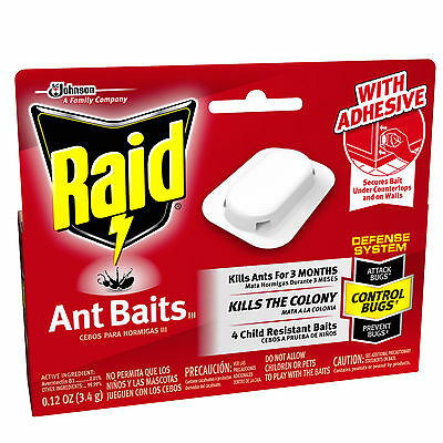 Raid 4-Pcs ANT BAITS III DEFENSE SYSTEM Kills the Colony f/3 Months BUGS CONTROL