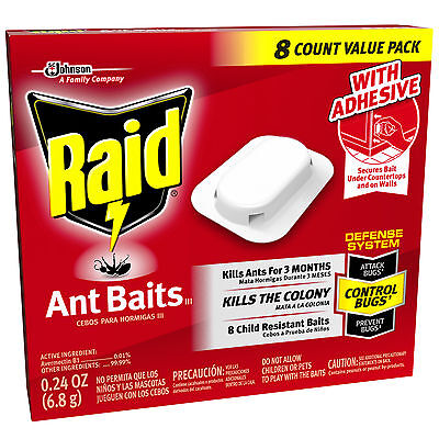 Raid 8-Pcs ANT BAITS III DEFENSE SYSTEM Kills the Colony f/3 Months BUGS CONTROL