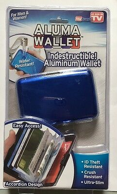 Aluma Wallet Blue Credit Card Holder RFID Protection ( Ships from USA ) NEW