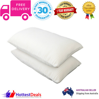 2 Memory Foam Pillows Deluxe Support Washable Cover Comfortable Improves Sleep