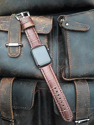 Brown Leather Watch Strap Band For Apple Watch 42mm Series 1 2 3 Silver Fixings