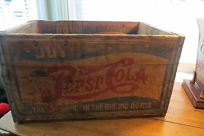 Old Pepsi Cola double dot all wood bottle soda crate,Drink in the Big Big bottle