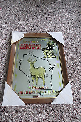 Old Seagrams Canadian Hunter mirrored advertising sign, wood frame; Wisconsin