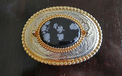 Lady's gold/silver tone belt buckle, Snow Flake Agate