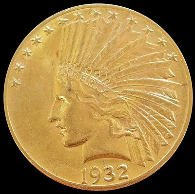 1932 Gold United States $10 Indian Head Coin Uncirculated Condition