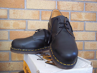 Vintage Dr. MARTENS Size 12 Black Steel Toe Made In England Skin Punk Mod