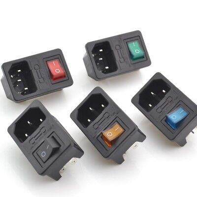 1/2/3/5/10 Male Power Socket Fused Rocker Switch IEC320 C14 Inlet Colours New