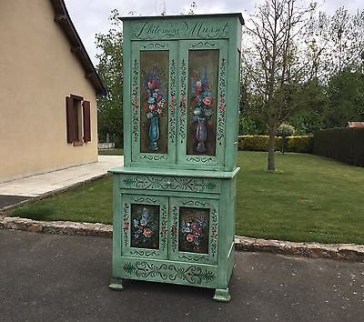 Antique French Solid Pine Kitchen Dresser Linen Cupboard Original Shabby Chic