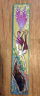 NOR Brunette Mermaid With Violet Highlights Folk Art Painting on Wood