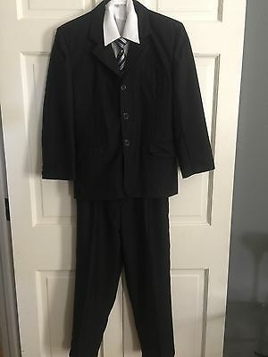 EUC Boys Suit Size 12 Jacket Shirt Pant Tie Black Four Piece Set