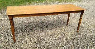 Antique Harvest Farm House Table Tiger Oak 7' Circa 1930