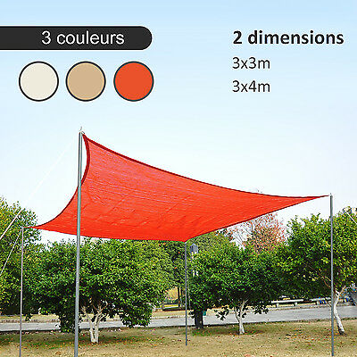 Outsunny Voile d'Ombrage Rectangulaire 3x3/3 x 4m Anti-UV HDPE Sable/Crème/Rouge