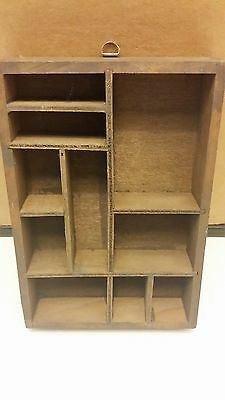 Vintage? Wooden print style drawer/tray shadowbox arts crafts wall hanging