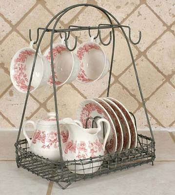 Vintage French Country Wire Metal  Dish Rack Tea Cup Hook Basket Storage Caddy