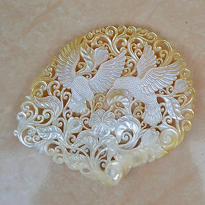 Hummingbird 13.5cm Hand Carved  Mother Of Pearl Seashell Carving Sculpture