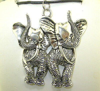 "New  Extra Large  3-D  Two ELEPHANT Silver-tone Pendant 18"" - 20"" Black Necklace"
