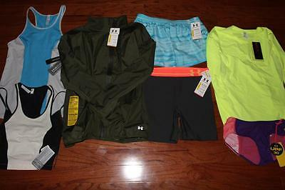 "Lot Of 7 Under Armour Womens Jacket Shorts Mid 5"" Studio Lux Tank Tops M Nwt"