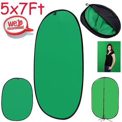 5X7Ft Collapsible Lightweight Reversible Green Black 2-In-1 Background Panel New