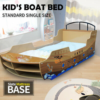 Fun Kids Toddler Baby Sea Rover Ship Boat Featured Single Size Bed Brown 4027