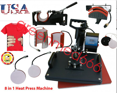 8 in1 Heat Press Machine Digital T-Shirt Mug Plate Cap Transfer Sublimation New
