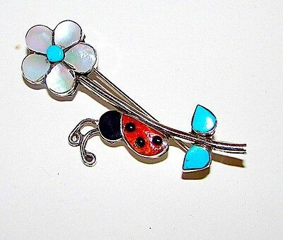 ZUNI Sterling Turquoise MOP Spiny Oyster Inlay Flower Ladybug Pin Pendant Signed