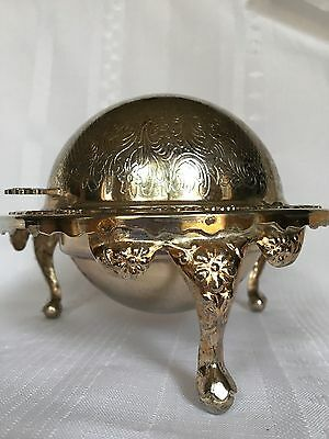 Vintage Domed Revolving Butter Dish Silverplate, England