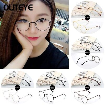 Vintage Unisex Men Metal Frame Clear Round Lens Glasses Nerd Spectacles Eyeglass